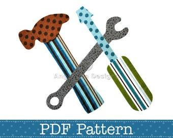 Tools Applique Template, Hammer, Screwdriver, Wrench, DIY, Children, PDF Pattern by Angel Lea Designs, Instant Download Digital Pattern