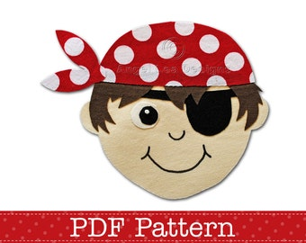 Pirate Applique Template PDF Applique Pattern Boy Pirate with Eye Patch, Bandana and Captain Hat, Instant Download Digital Pattern