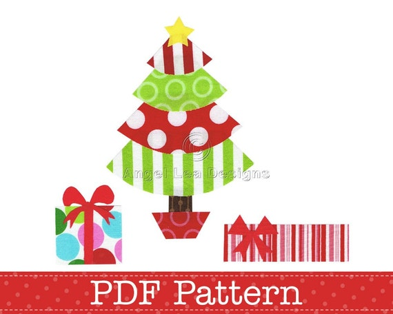 Christmas Tree And Presents Applique Template Gifts DIY. PDF