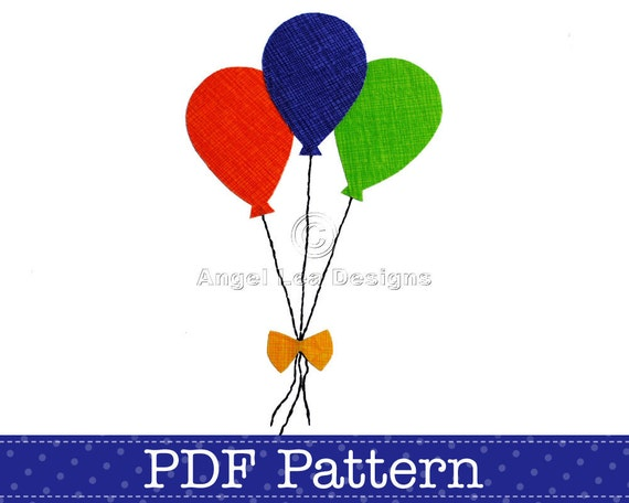 Balloons Applique Template. Bunch Of Balloons PDF Template