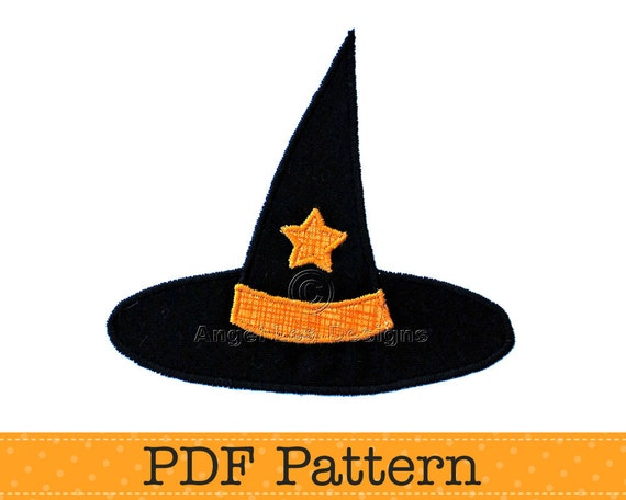 Witches Hat Applique Template. Halloween Applique Designs, DIY. PDF Pattern by Angel Lea Designs, Instant Download Digital Pattern