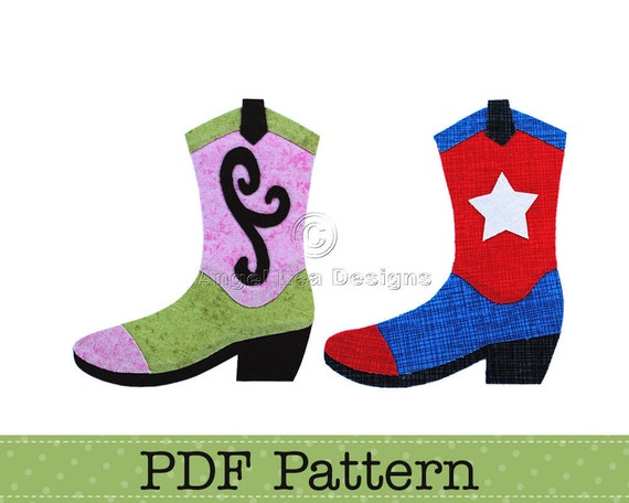 Cowgirl Boot Applique Template and Cowboy Boot Applique Template. PDF Applique Patterns by Angel Lea Designs