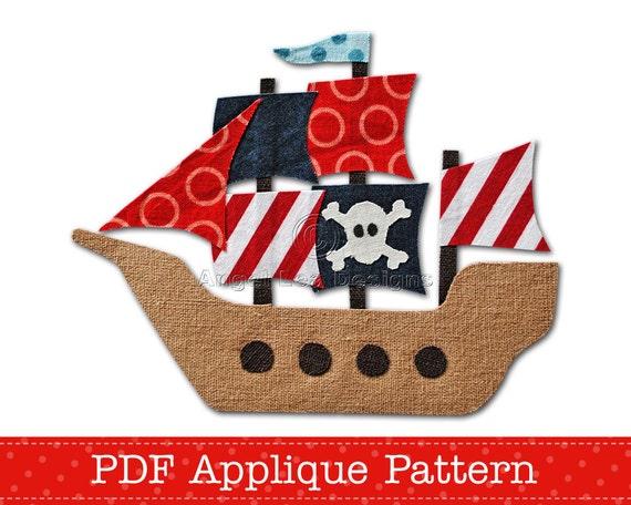 Pirate Ship Applique Template PDF Applique Pattern Boys Applique Design, Instant Download Digital Pattern