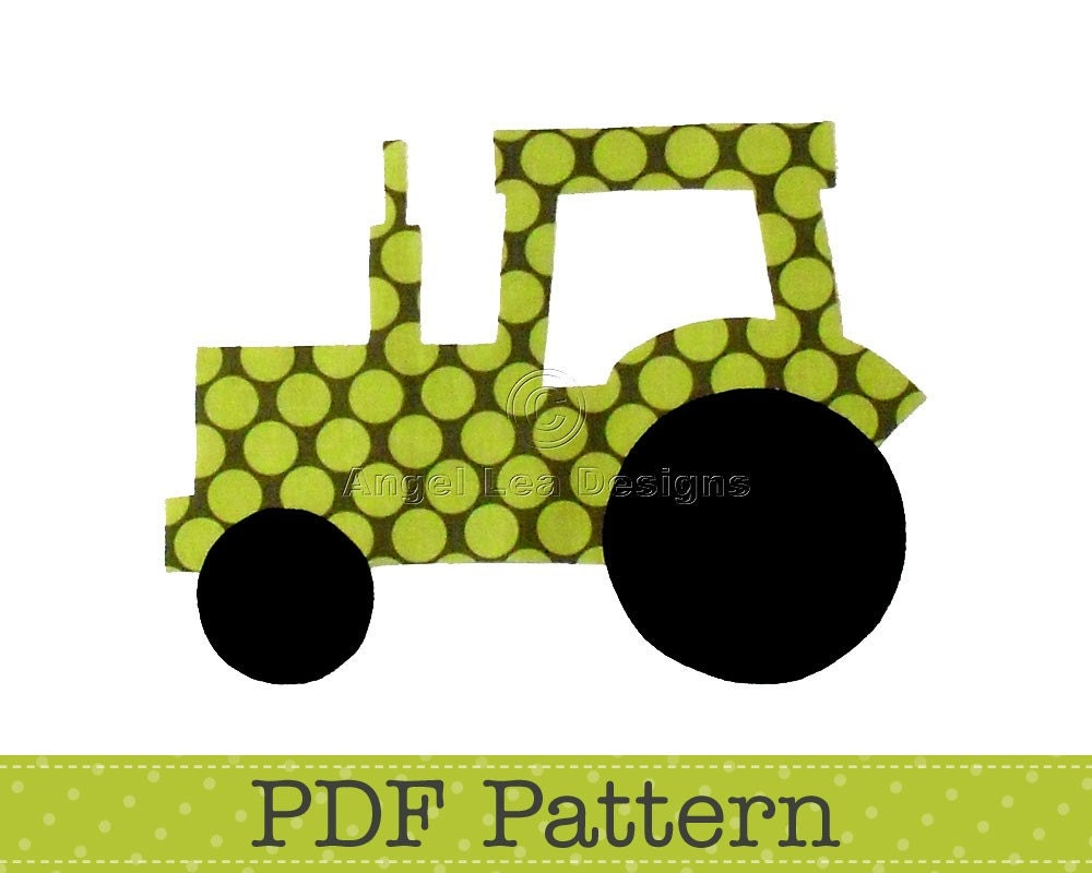 Tractor applique template transport farm diy children pdf for Tractor template to print