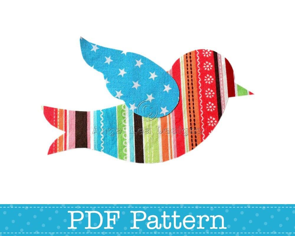 bird applique template animal diy children pdf pattern by