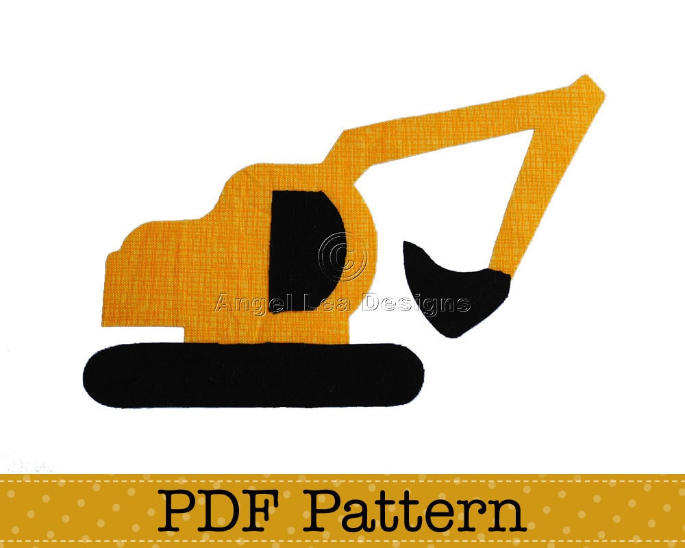 Excavator applique template diy children pdf by for Digger cake template