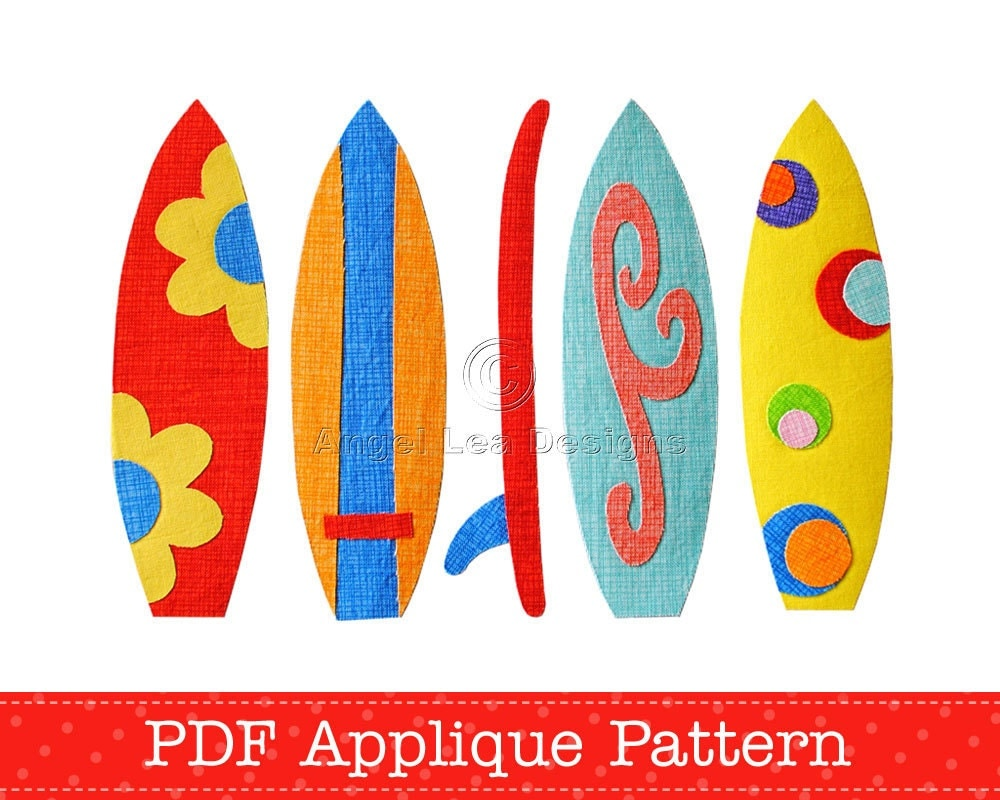 Surfboards applique template pdf pattern holiday beach fun for Surfboard craft for kids