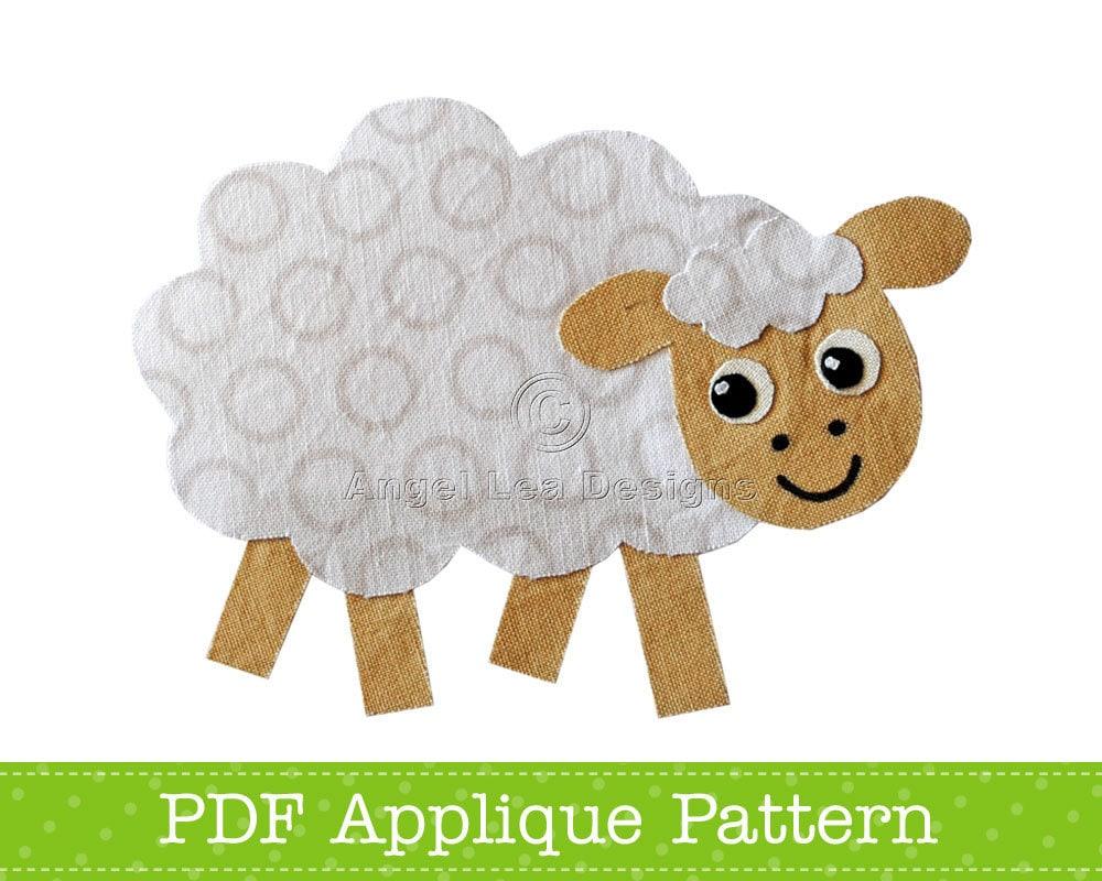 sheep applique template farm animal applique design pdf. Black Bedroom Furniture Sets. Home Design Ideas