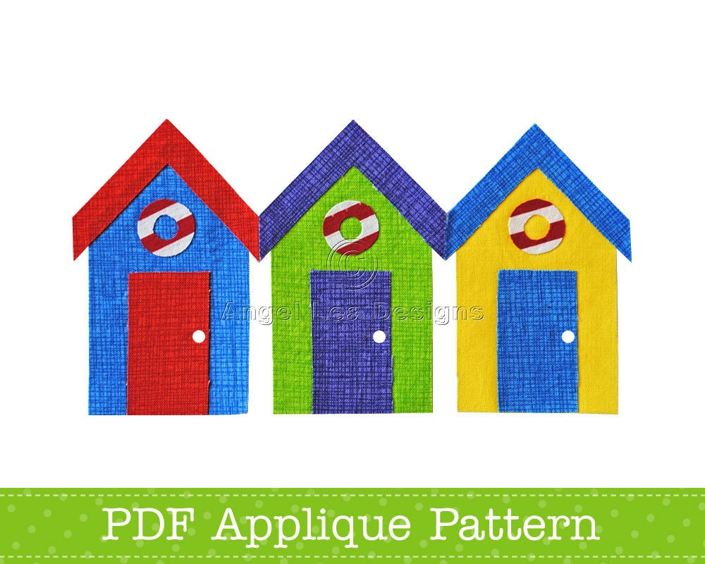 Beach Huts Applique Template Bathing Huts Pdf Applique Pattern