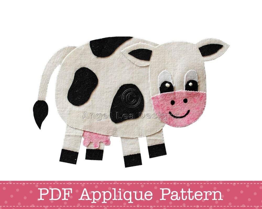 Cow Applique Template Cow Applique Pattern Pdf Pattern Black