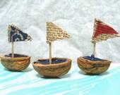 Walnut Shell Boat Trio Sailboats