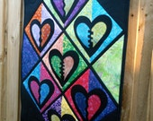 Batik Hearts Quilted wall hanging  Mend my broken heart  32 in. x 22 in.