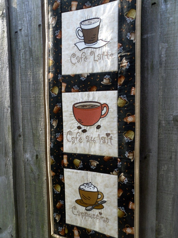Coffee - you complete me - embroidered and quilted wall hanging 29.5 in. x 11.5 in.