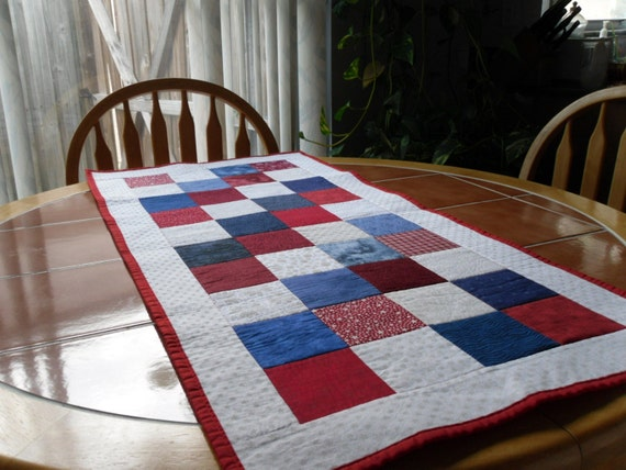 Quilted Patriotic Table Runner - 19 in. x 42 in. Red, white and blue