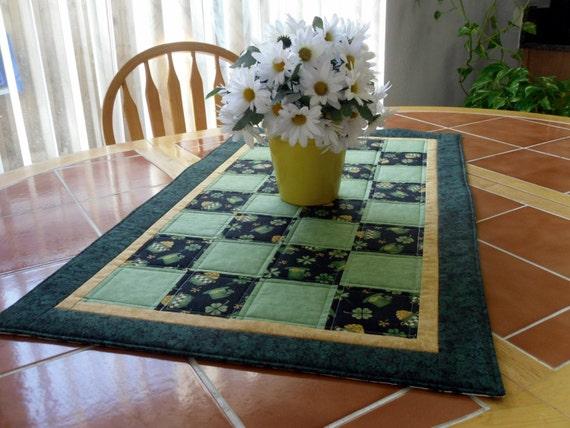 Quilted St. Patrick's Day Table Runner - Reversible - 19 in. x 33 in.