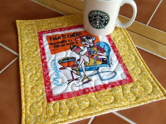 Maxine  - Mug Rug or Candle Mat  - oversized coaster number 403
