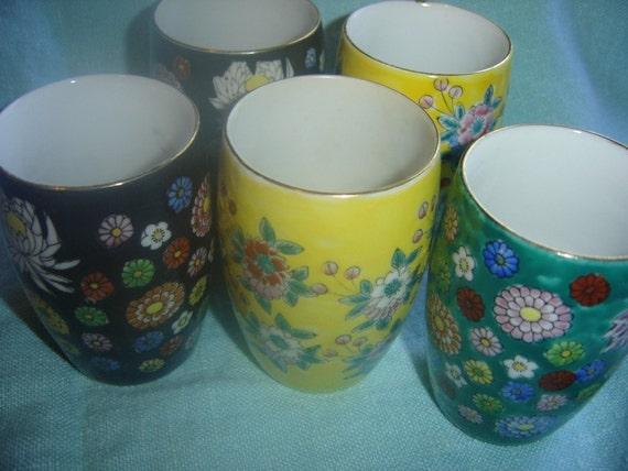 5 Beautiful Vintage Cloisonne Saki Juice Cups Japan 1970s