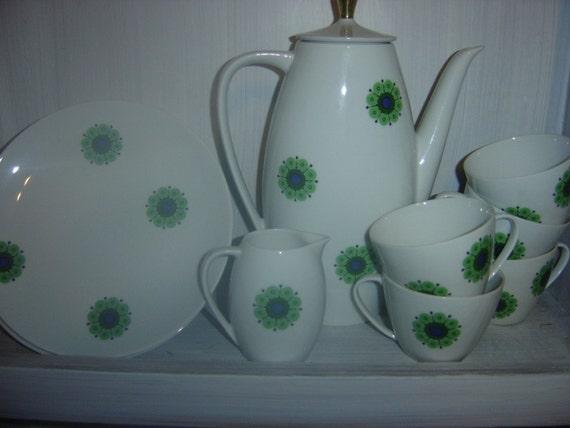 Tea for 5 Set- Thomas Bavaria Germany Fine China Mid Century Atomic Medallion Daisy Flower