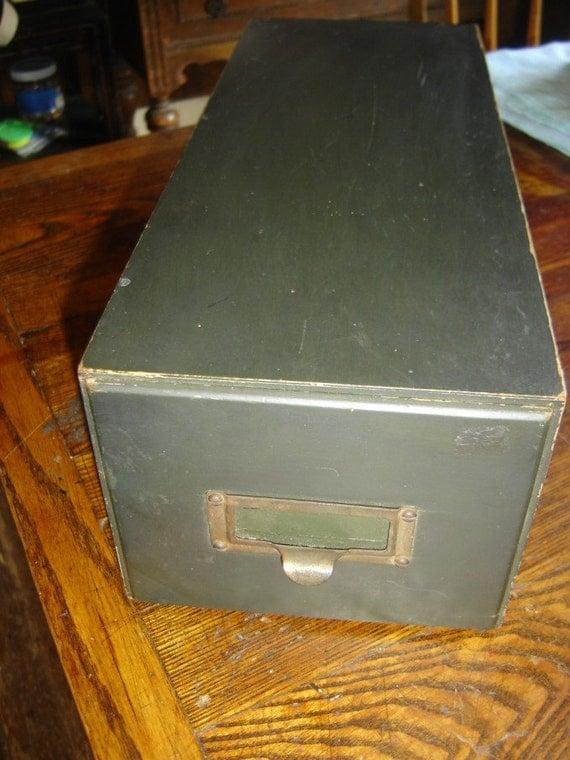 Antique Black Wooden Card Catalog Cabinet File Drawer