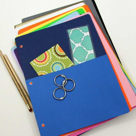 Cusotm Order.  Two Cardstock Pockets for Notebook Binders and Journals