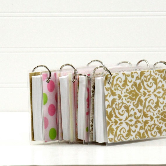 3 x 5 Index Card or Note Card Binder Set of Four, Cream and PInk