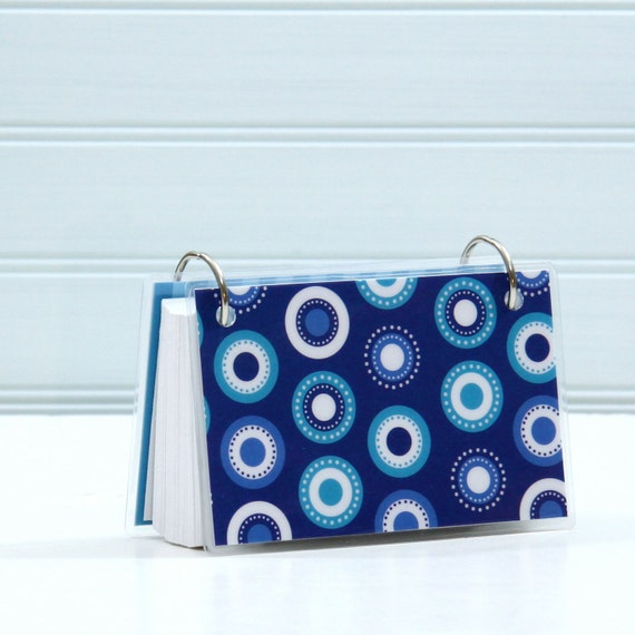 3 x 5 Index Card or Note Card Binder, Blue Dots