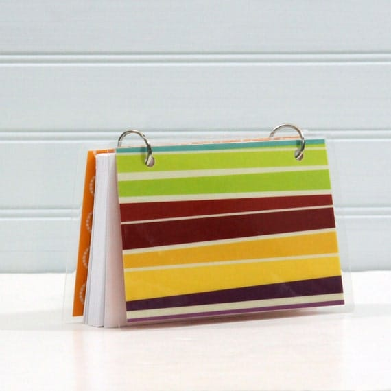 4 x 6 Index Card or Note Card Binder, Green Red Stripe