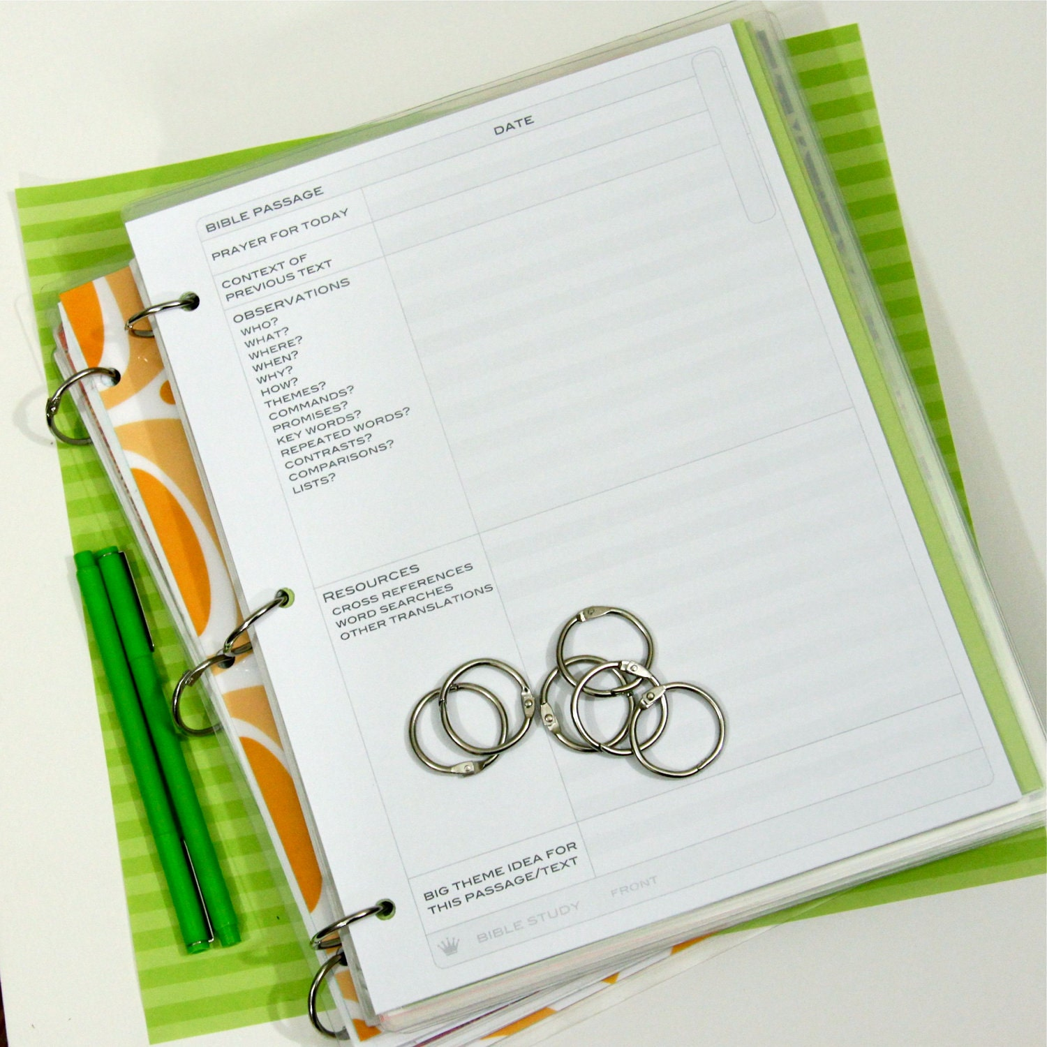 Planner Printables. 8.5 x 11 Bible Study and by CrownBindery