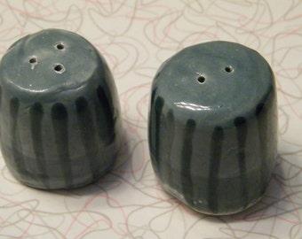 Green Striped Salt and Pepper Shaker