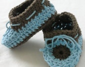 Crochet Baby Toddler Moccasins Booties Slippers Blue Chocolate Brown  Infant to 18 Months or YOU Pick Colors