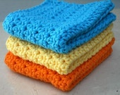 Kitchen Dishcloths Crochet Cotton Bright Orange, Blue, Yellow Set of 3