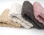 Crochet Washcloths Organic Cotton Handmade Set of 4 Chocolate, Pink, Almond, Cream