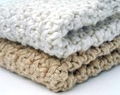 Crochet Washcloths Organic Cotton Handmade Cream and Almond Set of 2 Eco-Friendly