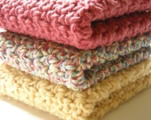 Crochet Cotton Dishcloths Kitchen Country Colors Red Yellow Set of 3 Handmade