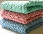 Crochet Washcloths Cotton Dishcloths Aqua Turquoise Blue Rose Pink Handmade Set of 3