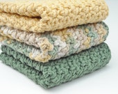 Crochet Kitchen Dishcloths Cotton Handmade Sage Green and Country Yellow Set of 3