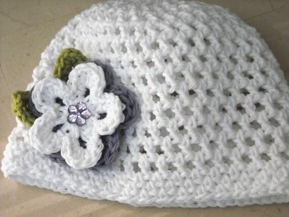 Summer Beanie Hat Crochet Pattern : Items similar to Crochet Summer Beanie Hat in White with ...