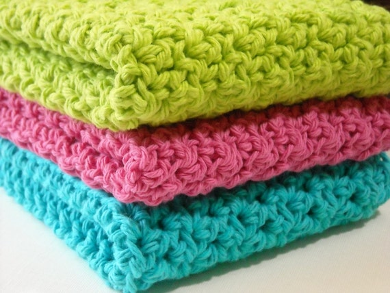 Crochet Dishcloths Cotton Washcloths Bright Blue Bright Pink Lime Green For Kitchen or Bathroom Set of 3
