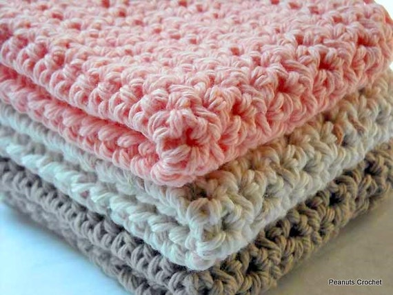 Crochet Dishcloths Kitchen Handmade Cotton Durable Set of 3 Peach, Taupe, Ecru