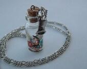 Mad Hatter Glass Vial / Bottle Necklace - Alice In Wonderland