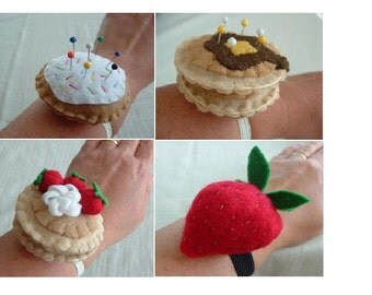 PDF Wrist Pincushion Pattern - Felt Pancakes, Doughnut and Strawberry
