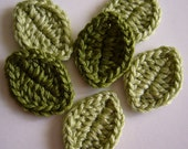 Crocheted Leaves - Wool Blend - Crocheted Appliques - Crocheted Embellishments - Set of 6