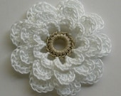Crocheted Flower - White with a Linen Center - Cotton - Crocheted Embellishment - Crocheted Applique