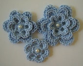 Crocheted Flowers - Bridal Blue Cotton Flowers - Crocheted Appliques - Crocheted Embellishments