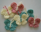 Crocheted Butterflies - Aqua, Pink and Cream - Crocheted Appliques - Crocheted Embellishments - Set of 6