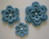 Crocheted Flowers - Blue With a Pearl - Cotton Flowers - Crocheted Appliques - Crocheted Embellishments