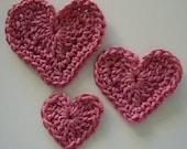Trio of Crocheted Hearts - Pink - Cotton - Crocheted Applique Hearts