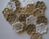 Mini Six Crocheted Flowers - White, Linen and Ecru - Cotton - Set of 6
