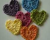 Rainbow of Crocheted Hearts - Cotton - Blue - Orange - Pink - Plum - Lime Green - Yellow
