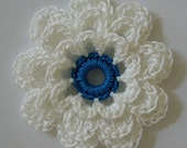 Crocheted Flower - White with Blue Hawaii - Cotton Embellishment - Cotton Applique